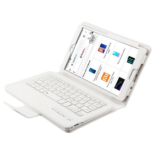 Клавиатура MyPads для Apple iPad (2018) 128Gb Wi-Fi / Apple iPad (2018) 32Gb Wi-Fi съемная беспроводная Bluetooth в комплекте c кожаным чехлом и пластиковыми наклейками с русскими буквами