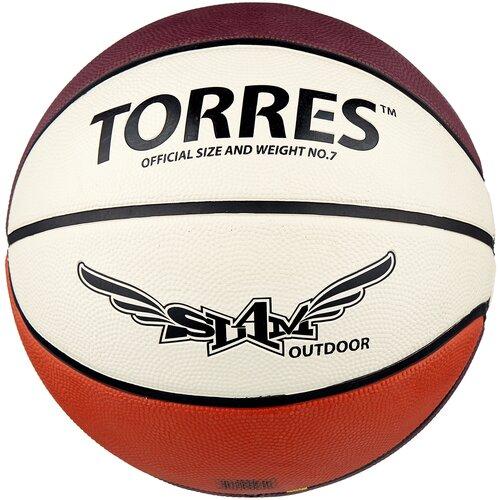 Баскетбольный мяч TORRES Slam B00067, р. 7 бежевый/бордовый/оранжевый мяч баскетбольный torres slam b02065 р 5
