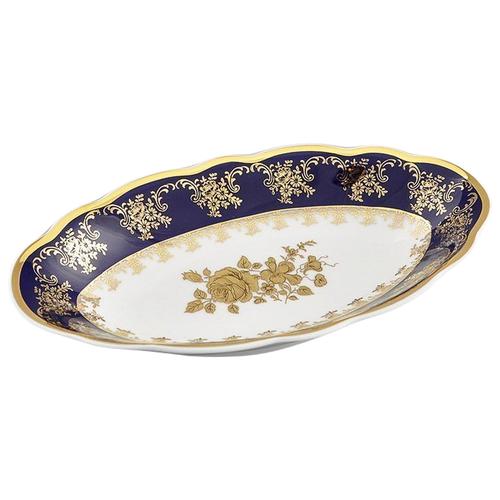 Фото - Блюдо овальное Мэри-Энн Темно-синяя окантовка с золотом, 23 см, Leander ваза для фруктов мэри энн темно синяя окантовка с цветами 23 см 03116154 0086 leander
