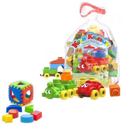 Купить Набор развивающий: Конструктор Кноп-Кнопыч 46 дет. + Игрушка Кубик логический малый , Биплант, Развивающие игрушки