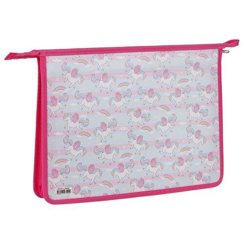 Фото - ArtSpace Папка для тетрадей Единороги А4, на молнии, пластик розовый artspace папка для тетрадей на молнии пингвинята a4 ламинированный картон серебристый голубой