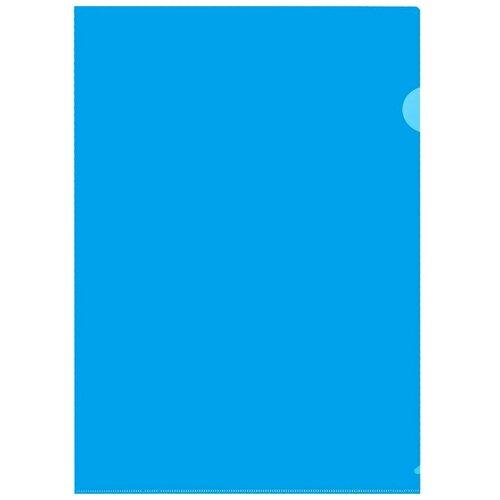 Купить Папка уголок ПУ-001-ПП 120мкр жесткий пластик А4 синяя прозрачная 20шт/уп, 2 уп, Attache, Файлы и папки