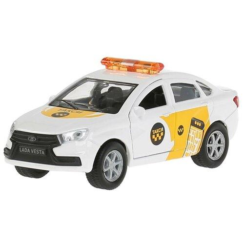 Фото - Машинка ТЕХНОПАРК Lada Vesta Такси (SB-16-40-T-WB(19)), 12 см, белый/желтый автобус технопарк рейсовый sb 16 88 blc 7 5 см желтый