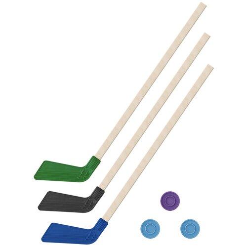 Детский хоккейный набор зима,лето 3 в 1/ Клюшки хоккейных 80 см зеленая, черная, синяя + 3 шайбы, Задира-плюс