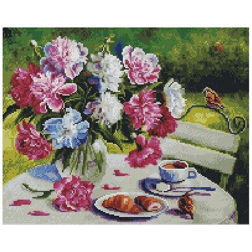 Купить Алмазная вышивка «Пионовое утро», 40x50 см, Paintboy (Premium), Алмазная мозаика