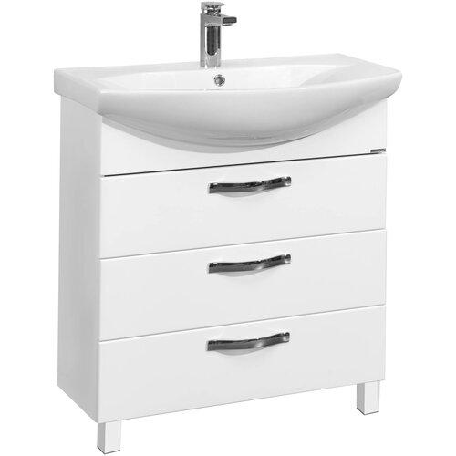 Фото - Тумба для ванной комнаты с раковиной АКВАТОН Ария 80Н, ШхГхВ: 76х30.9х83.3 см, цвет: белый глянцевый тумба для ванной комнаты с раковиной am pm like напольная шхгхв 80х45х85 см цвет белый глянец