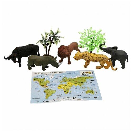 Фото - Игровой набор S+S Животные с картой обитания 6 шт Zooграфия S+S игровой набор abtoys s 00183 черный белый 6 шт