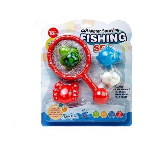 Купить Игрушка для ванной Junfa toys 4 фигурки морских обитателей с сачком красный/зеленый/синий, Игрушки для ванной