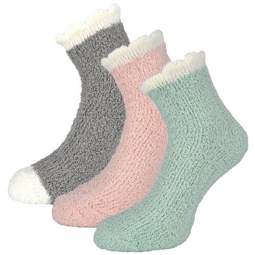 Женские демисезонные носки Guarneri из мягкого кораллового флиса, 3 пары в подарочном пакете. Размер 36-40. Цвет серый, розовый, голубой.