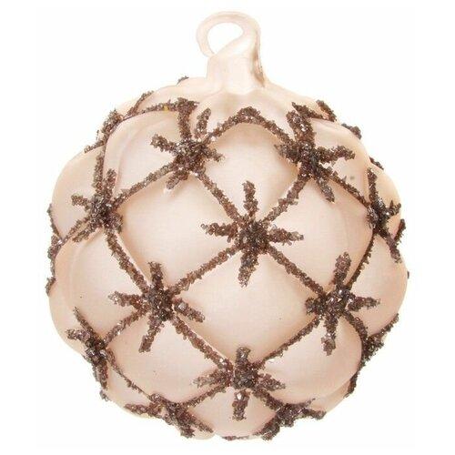 Набор елочных шаров SHISHI 52458, бежевый, 6 см, 6 шт.