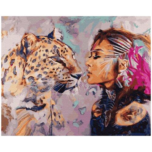 Купить Картина по номерам ВанГогВомне Девушка и леопард 40х50 см, ВанГогВоМне, Картины по номерам и контурам