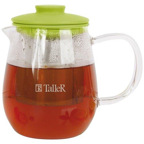 Taller Заварочный чайник Уолтон TR-1360 600 мл, прозрачный/зеленый доляна чайник заварочный восточная ночь 600 мл зеленый