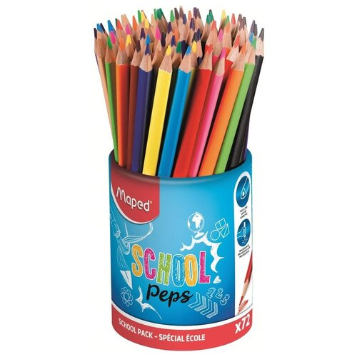 Купить Maped Карандаши цветные Color'peps Strong School Peps в стакане 12 цветов, 72 штуки (832000), Цветные карандаши