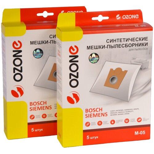мешки пылесборники ozone xxl p05 бумажные 12 шт 2 микрофильтра для bosch siemens scarlett ufesa Мешки пылесборники Ozone M-05/2 для пылесоса BOSCH, SIEMENS, SCARLETT, UFESA, KRUPS, 2 упаковки по 5 шт.