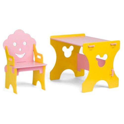 Комплект Столики детям стол + стул Гном 50x45 см желтый/розовый
