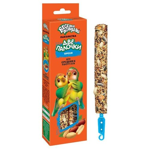 Фото - Зоомир весёлый попугай две палочки орехи д/средних 2*35гр 730 лакомство для средних попугаев зоомир веселый попугай две палочки любимые орехи 70 г