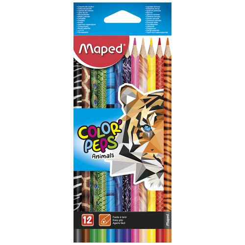 Фото - Maped Цветные карандаши Color Peps Animals 12 цветов (832212) карандаши набор 18цв аквар maped color peps aqua кисть