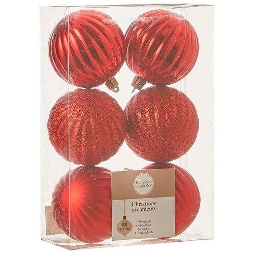 Набор елочных шаров House of seasons 83194, красный, 7 см, 6 шт.