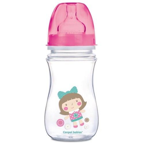 Купить Бутылочка Canpol babies EasyStart, Toys, с широким горлышком, антиколиковая, 240 мл, 3+ месяцев, цвет: розовый (250989241), Бутылочки и ниблеры