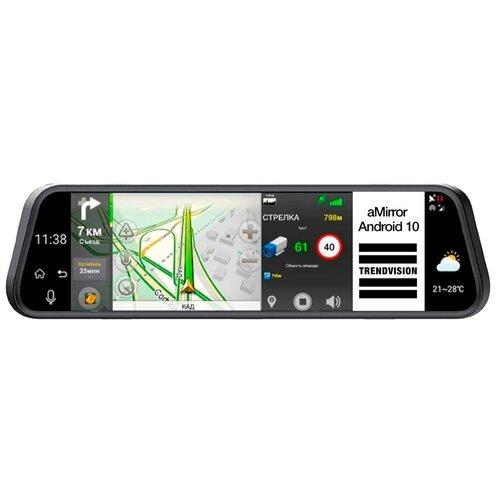 Фото - Видеорегистратор TrendVision aMirror 10 Android, 2 камеры, GPS, черный видеорегистратор trendvision amirror 10 android 2 камеры gps черный