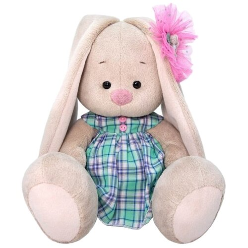 Фото - Мягкая игрушка Зайка Ми в зеленом платье в клетку 18 см мягкая игрушка зайка ми в лиловом 23 см