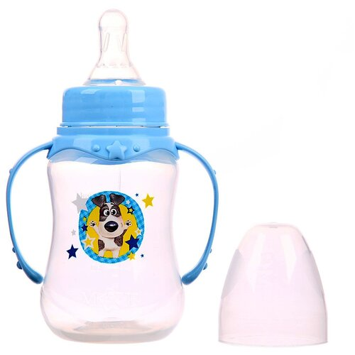бутылочка для кормления люблю маму и папу 250 мл приталенная с руч цвет крас 2969835 Бутылочка для кормления Собачка Джекки150 мл приталенная, с ручками, цвет голубой 2969854