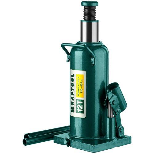 Домкрат бутылочный гидравлический Kraftool 43462-12_z01 (12 т) зеленый домкрат гидравлический бутылочный kraftool 8т kraft lift 43462 8 z01
