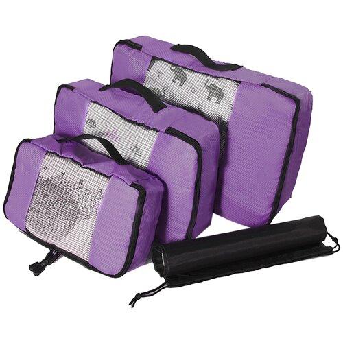 Набор органайзеров из водоотталкивающего материала для багажа, 3 шт, цвет фиолетовый