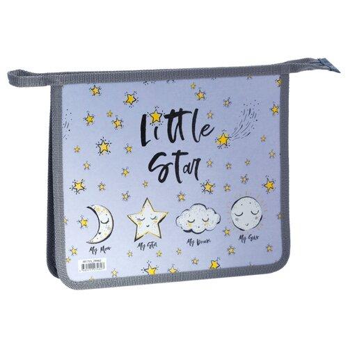 Купить ArtSpace Папка для тетрадей Little star А5, на молнии, пластик серый/голубой, Файлы и папки
