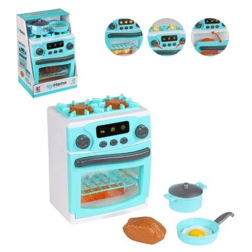 Купить Детская бытовая техника, набор Плита с игрушечной посудой и продуктами , на батарейках, свет, звук, в/к 19, 2*15, 2*28, 8 см., Компания Друзей, Детские кухни и бытовая техника