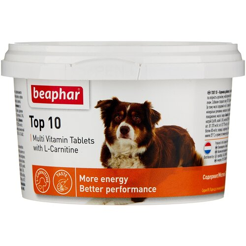 Фото - Добавка в корм Beaphar Top 10 Multi Vitamin с L-карнитином для собак 180 таб. добавка в корм beaphar salvikal