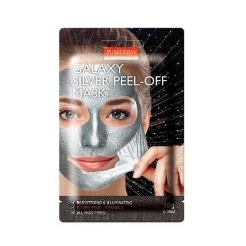 Придающая сияние маска-пилинг для лица Purederm Galaxy Silver Peel-Off Mask, 10 гр