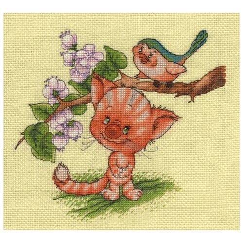 Купить Klart Набор для вышивания Кот и птица 24 x 24 см (8-194), Наборы для вышивания