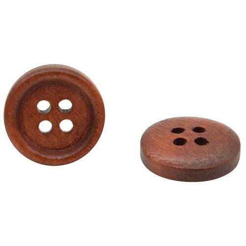 Купить W01 Пуговица 24L (15мм) 4пр. (Brown1 (коричневый1)), 72 шт, Astra & Craft, Пуговицы
