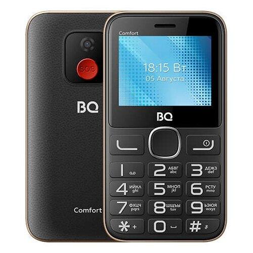 Телефон BQ 2301 Comfort, черный/золотистый сотовый телефон bq 2301 comfort red black