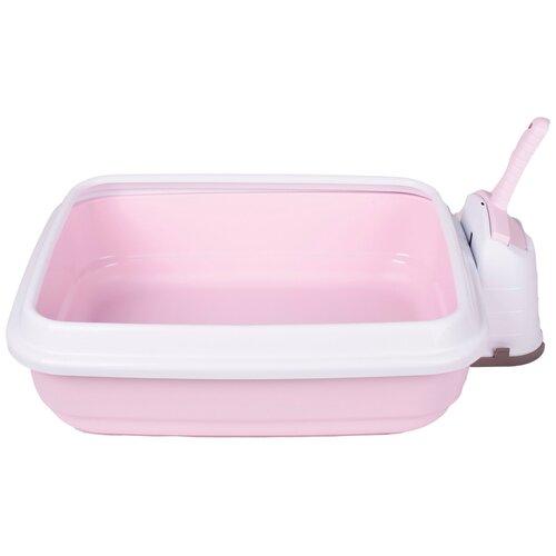 Туалет-лоток для кошек Imac Duo 48х40х15 см нежно-розовый
