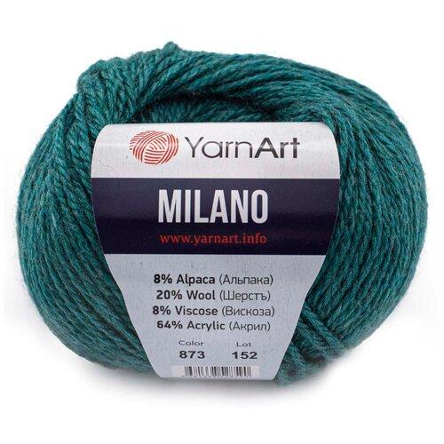 Пряжа YarnArt 'Milano' 50гр 130м (8% альпака, 20% шерсть, 8% вискоза, 64% акрил) (873 темная бирюза), 10 мотков  - купить со скидкой