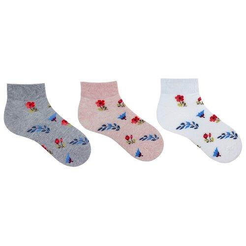 Купить Носки НАШЕ комплект 3 пары размер 22/34-36, серый/светло-розовый/экрю