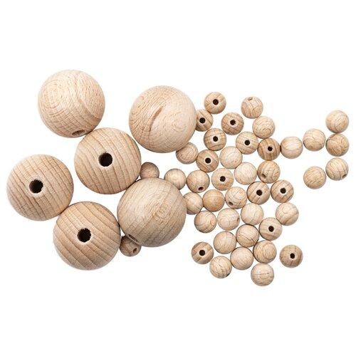 Купить 61657010/30 Набор деревянных неокрашенных бусин 10-30мм 48шт, Glorex, Фурнитура для украшений