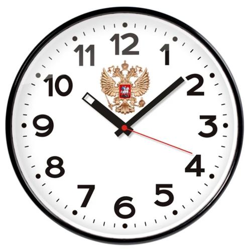 Часы настенные кварцевые Тройка 77770732 белый/черный.