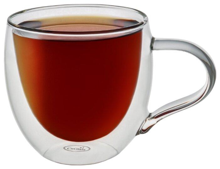 Кружка CnGlass стеклянная с двойными стенками для кофе и чая 280 мл B10-1 — купить по выгодной цене на Яндекс.Маркете