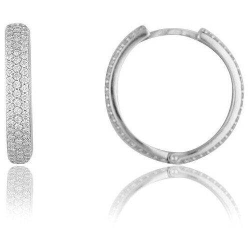 TOP CRYSTAL Серьги-кольца с фианитами, серебряные 40455311