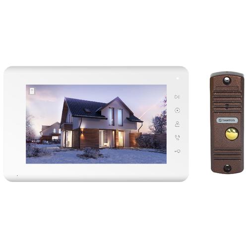 Комплектная дверная станция (домофон) TANTOS Mia kit коричневый (дверная станция) белый (домофон)