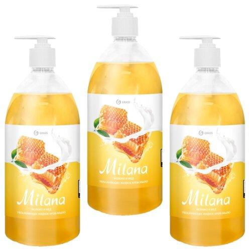 Крем-мыло жидкое Grass Milana молоко и мед, 1 л, 3 шт. жидкое крем мыло milana молоко и мед 1 л с дозатором 1 6 grass