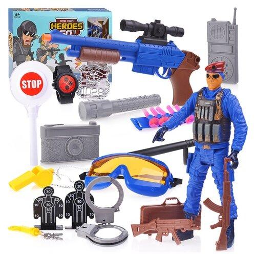 Набор полицейского Oubaoloon с фигуркой солдата, с автоматом, рацией и аксессуарами, в коробке (88805)