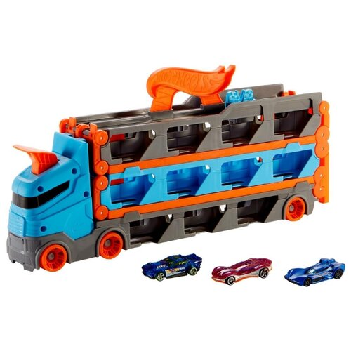 Купить Трек Hot Wheels Грузовик-автотрек Скоростная автотрасса (с хранилищем для машинок) GVG37, Детские треки и авторалли