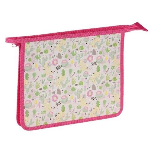 Купить ArtSpace Папка для тетрадей Cactus А5, на молнии, пластик белый/зеленый, Файлы и папки