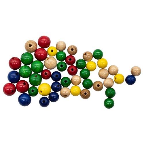 Купить Набор деревянных разноцветных бусин, 12-15мм, 42шт, Glorex, Фурнитура для украшений