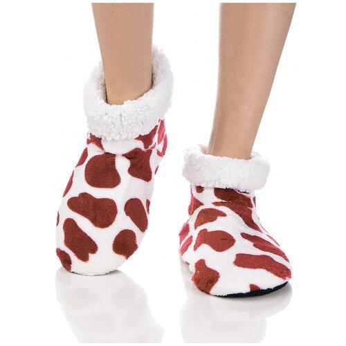 Плюшевые носки домашние, коровий принт, противоскользящая подошва, внутренний подклад из искусственного меха, белый-бордовый цвет, размер 36-38