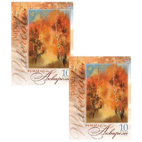 Купить Папка для акварели БОЛЬШОГО ФОРМАТА (295х420 мм) А3, 10 л., 180 г/м2, Золотая осень , HTB, 10Ба3B_06686(A059876) (2 штуки) 129209-2, Hatber, Альбомы для рисования